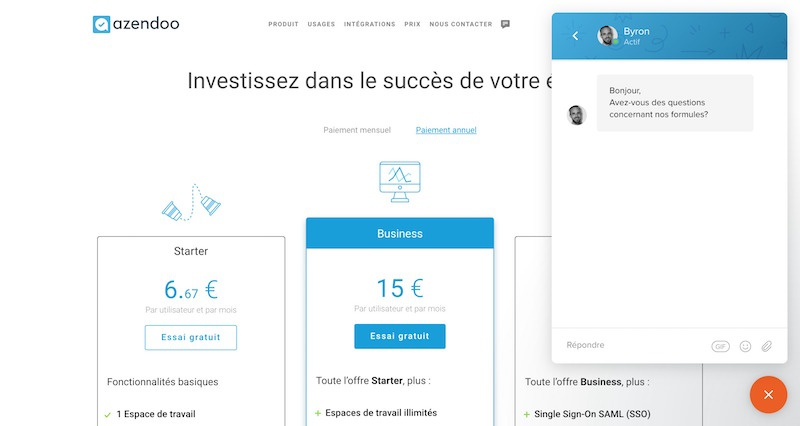 Azendoo - Live Chat Exemple