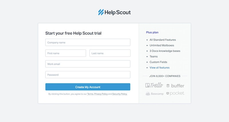 Helpscout - Signup Exemple