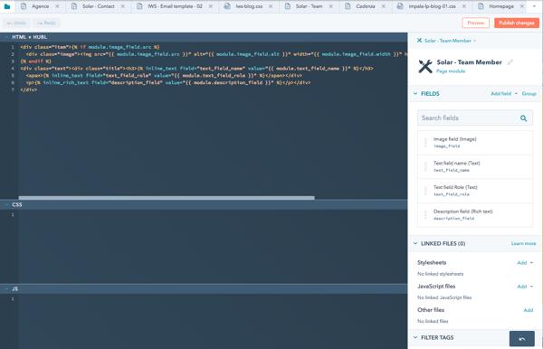 Capture - Ecran pages codées - Hubspot CMS